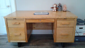 Large Desk - Solid Wood - Great drawers for organizing - $50