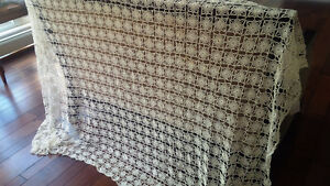 Vintage Crocheted Tablecloth Champagne Off-White