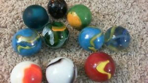 TEN ANTIQUE EXTRA LARGE MARBLES