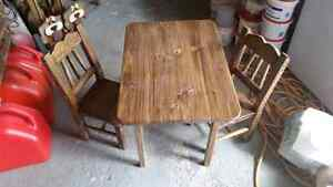 Child's table and chair set plus other wooden items