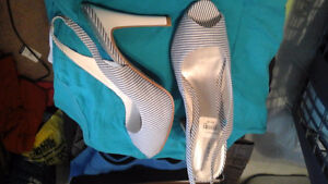 Blue and white striped high heals