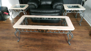 Coffee table and 2 two end tables marble glass