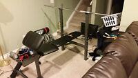 Adjustable Workout Bench w/ Standard Bar & Weights (100+)