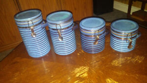 Blue ceramic canisters with clamp-top lids