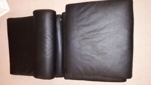 Black leather look poang chair pads