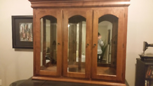 Upper solid wood glass cabinet