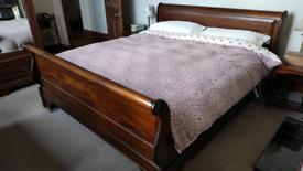 Super King Sleigh Bed (Mahogany Wood)