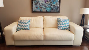 Modern Cream Leather Couches