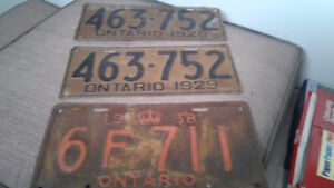 Vintage Ontario License Plates and Vintage Chinese and Checker g