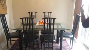 Glass Top Table with 6 Chairs (Moving Sale) Urgent