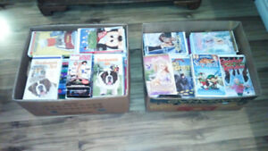 Family and Children's VHS Movies.   25 + movies per box.  $25