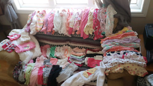 Two garbage bags full of baby girls clothes. Fm nwbrn - 3 mths.