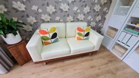 Dwell 2 Seater Firenze Leather Sofa Cream