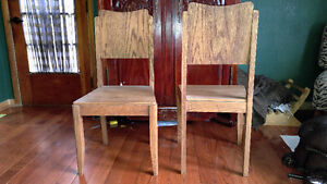 PAIR OF THICK STURDY SOLID OAK CHAIRS-UNIQUE!