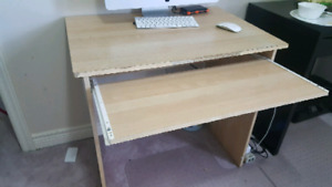 Used computer desk with executive leather chair
