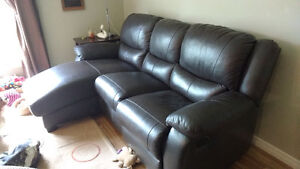 Reclining couch with chaise & reclining chair in good condition
