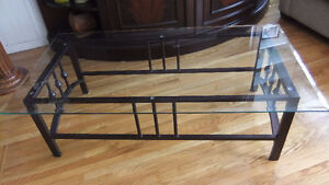 metal and bevelled glass top coffee table in exc cond