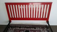 QUEEN SIZE BRIGHT RED SOLID WOOD HEAD BOARD/WITH CAST IRION FRAM