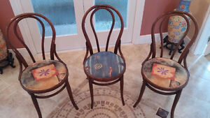 Beautiful antique all wood bistro kitchen chairs - Set of three