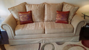 Beige Sofa and Love Seat in Excellent Condition