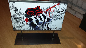 FOX Racing stand up sign. Metal base.