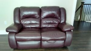 Comfy Leather Couch and Love Seat For Sale!