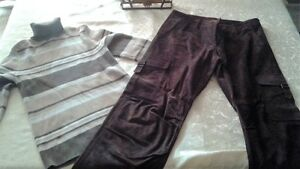 Suade Pants with Lining & Turtleneck Sweater