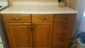 Kitchen cupboards and drawer