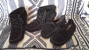 Size 7/8 black moccasins (high and low)