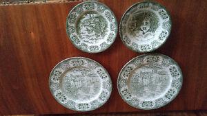 Set of 4 Gorgeous green vintage English plates
