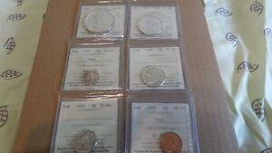 1957 Canadian Coins Mint Set - Graded ICCS PL-66 and MS-65 GEM Edmonton Edmonton Area image 4