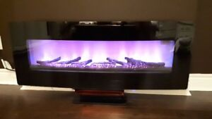 ClassicFlame 48-Inch Curved Black Wall Mount Electric Fireplace
