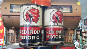 Red Indian oil cans