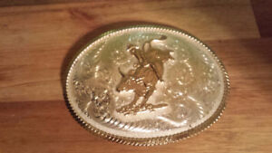 western silver and gold plated belt buckle new