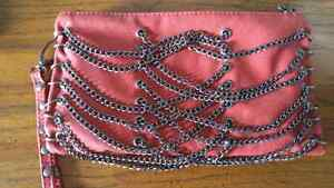Fun red clutch with chains