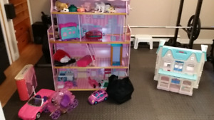 Barbie doll house and car etc
