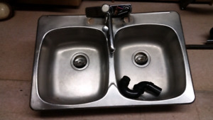 Double stainless kitchen sink 31 x 20