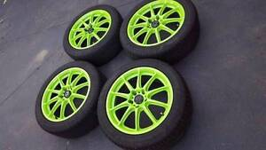 """Toyota / nissan jdm green wheels tyres set of 4 rims 17"""" 5x114.3 Williamstown Hobsons Bay Area Preview"""