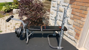 Weight bench (incline bench press) and weighs
