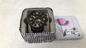 Fossil Men's Nate Watch In Blacktone With Dark Brown Leather
