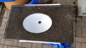 Granite bathroom counter and sink