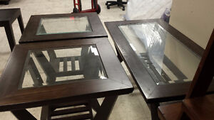 GLASS COFFEE TABLE/2 END TABLES