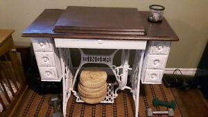old sewing machine vanity or desk or small accent table