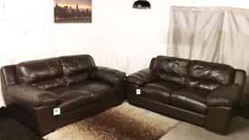 :: Dark brown real leather 3+3 seater sofas