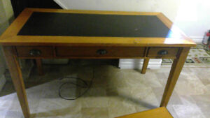 Solid Wood Desk and File Cabinet