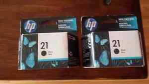 2 brand new HP 21 black ink cartridges