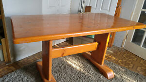 Heavy pine trestle table