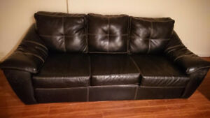 Black Leather Couch great for Rec. Room or Man Cave