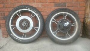 Pair of motorcycle tires on rims