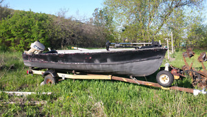 16 ' aluminum deep and wide boat and trailer.